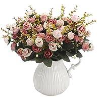 Amkun, mazzo di rose artificiali, costituito da 7 rami e 21 rose, realizzato in seta. Bouquet decorativo, ideale per…