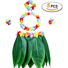 Gooidea Elastic Ti Leaf Hula Skirt with Hibiscus Flower Leis 5pcs Pack Luau Party Supplies Hawaiian Costume Set Amazing Party Favors Decorations