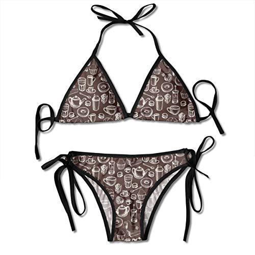 Women's Tie Side Bottom Padding Triangle Bikini Swimsuits,Hand Drawn Style Pattern with Coffee Tea Cups Donuts and Sweets,Bikini Sets Beach Swimwear Bathing ()