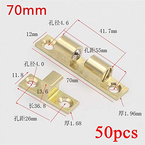 50pcs 70mm Wholesale Pure Copper Touch Beads Cabinet Door Catches Double Ball Latch Clip Lock Bronze Brass Color by Kasuki (Image #1)