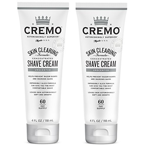 Cremo Unscented Shave Cream With Skin Clearing Formula, Helps Prevent Razor Bumps, Blemishes and Ingrown Hairs, 4 Fluid Ounces, 2-Pack ()