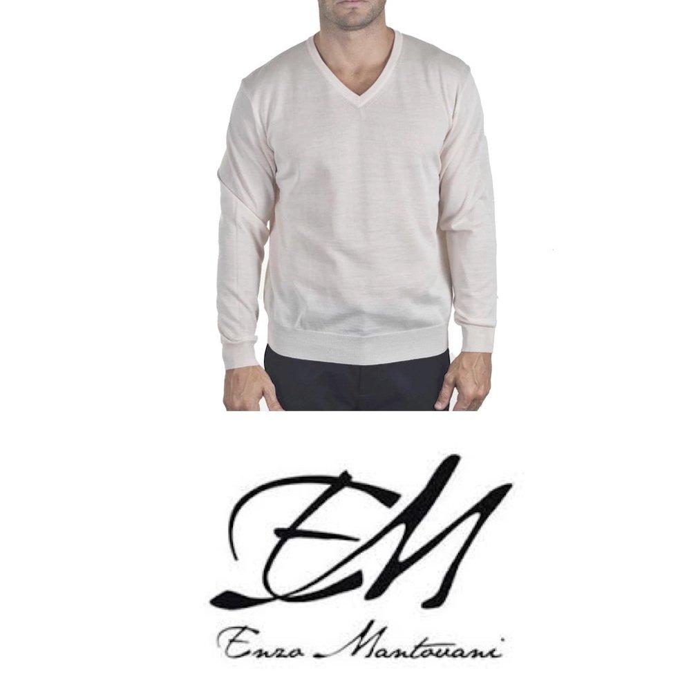 Enzo Mantovani - Men's Merino Wool - Fine Gauge V-Neck Sweater - Made in Italy (Large)