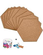 HBlife 10 Pack Self-Adhesive Cork Board Tiles, 8 x 7 Inch Corkboard Mini Wall Bulletin Board with 50 Multi-Color Push Pins