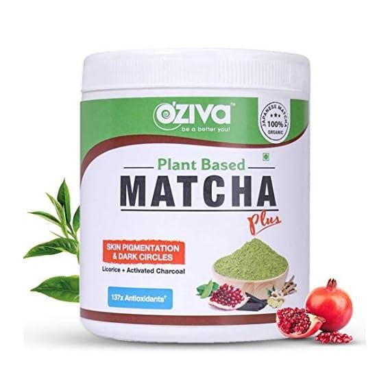 OZiva Plant Based Matcha Plus - Organic Japanese Matcha Green Tea for Skin Pigmentation & Dark Circles, 50g