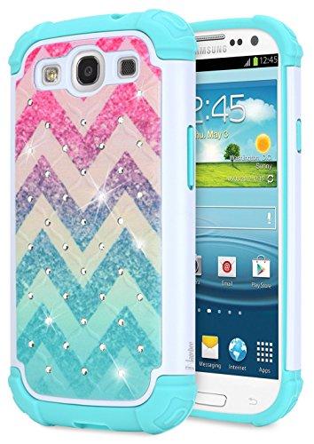 Cheap Cases Galaxy S3 Case, S3 Diamond Case, NageBee [Hybrid Protective] Armor Soft Silicone..