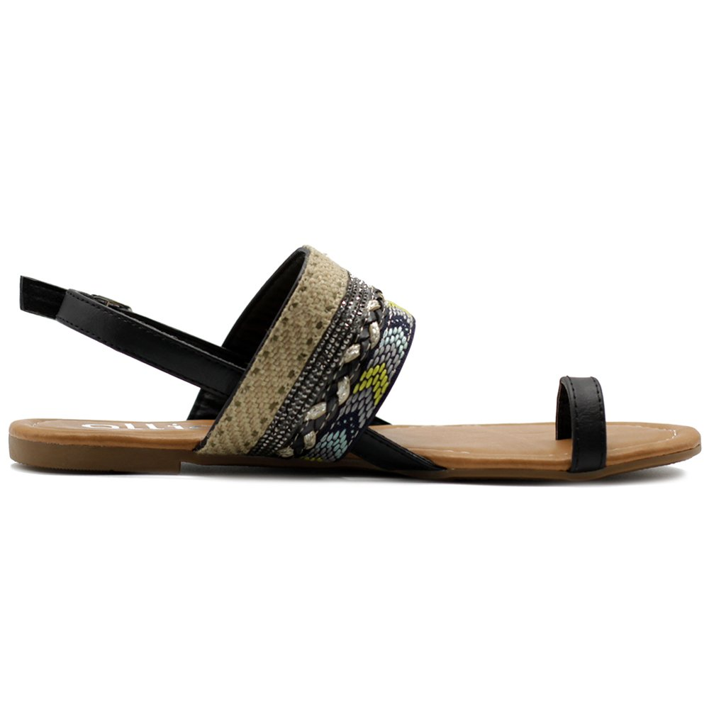 517ddd9beb721 Ollio Women s Shoes Ethnic Toe Ring Sling Back Boho Flat Sandals