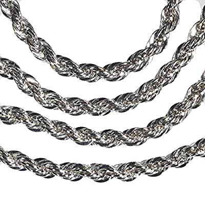 Sterling Silver Rope Chain Rhodium 2mm 20 Inch by ugems
