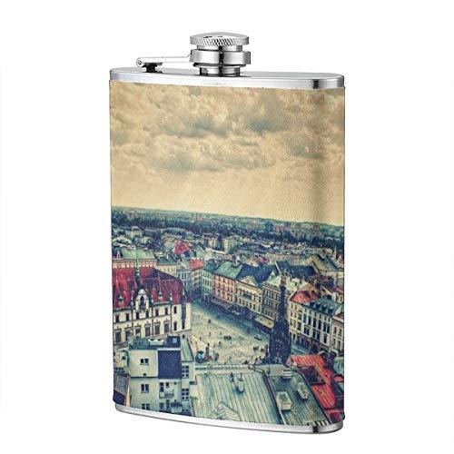 Shot Flask - Prague Square Food Grade (304) Stainless Steel Flask Leakproof 8 Oz Hip Flask for Storing Whiskey Alcohol Liquor -
