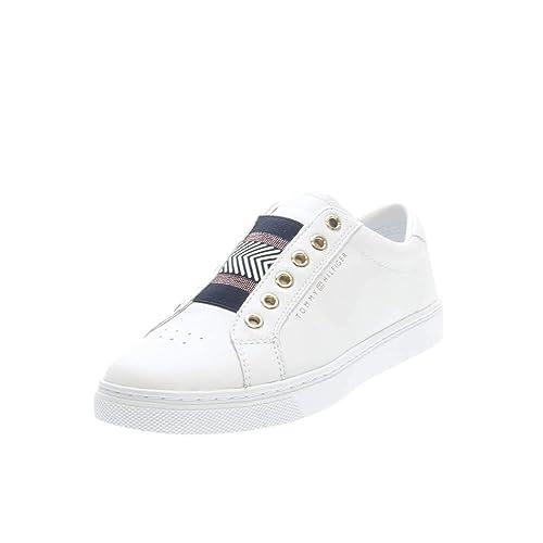 Tommy Hilfiger FW0FW02828 - Zapatilla Baja de Cuero Mujer, Color Blanco, Talla 40 EU: Amazon.es: Zapatos y complementos