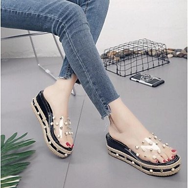 de PU de zapatos Verano 5 UE UE33 casuales UK1 US3 RUGAI Mujer Black CN32 Moda Blue Confort tacones sandalias 5 vq1WE