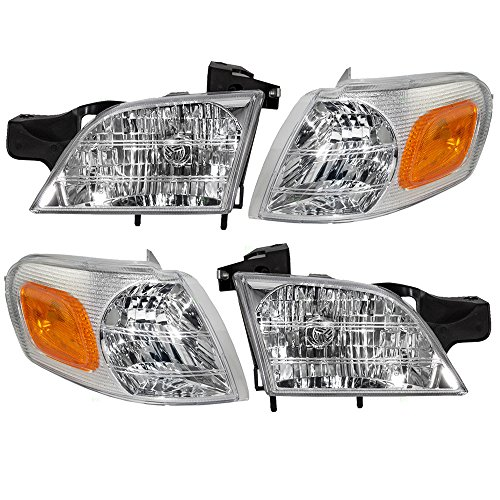 Pontiac Montana Van (4 Piece Set of Headlights with Signal Side Marker Lamps Replacement for Chevrolet Buick Pontiac Van 10368389 10368388 15130499 15130498)