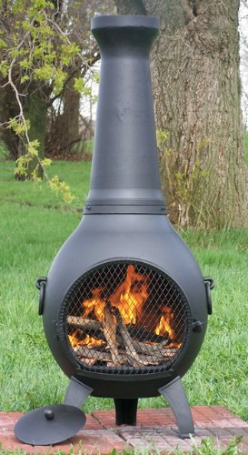 The Blue Rooster Co. Prairie Style Cast Iron Wood Burning Chiminea In  Charcoal.