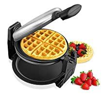 Aicok Belgian Waffle Maker, Stainless Steel 180 Degree Rotation Waffle Machine, 3 Minutes Double-sided Uniform Heating Waffle Iron with Nonstick Plates, Leak-proof Chassis, Cool Touch Handle, Gaufrier