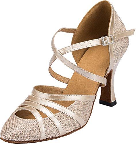 Abby Q-6134 Femmes Latine Chaussures De Danse De Salon 2.4 / 3.3 Talon Évasé Chaussures Champagne