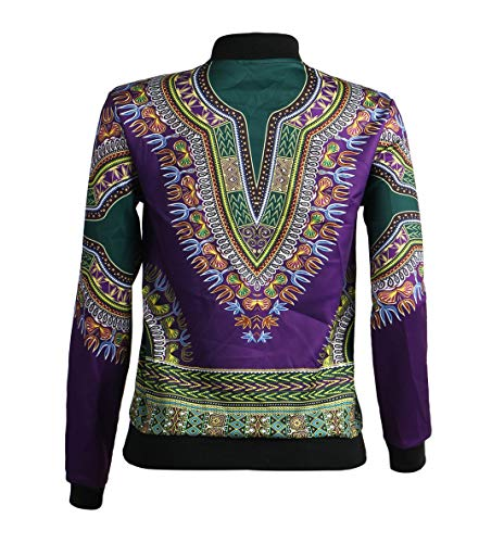 Viola Africano Casual Zip Giacche Tops Primavera Vintage Cappotti Moda E Jacket Coat Verde Lunga Trenchcoat Stampa Giacca Con Autunno Cime Bomber Outerwear Manica Donna OfR4gxZfwq
