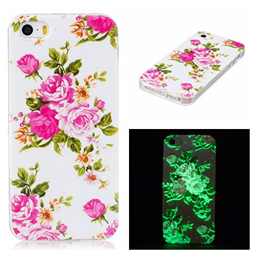 Coque iPhone SE / 5 / 5S, IJIA Ultra-mince Transparent Noctilucent Rose Pivoine TPU Doux Silicone Bumper Case Cover Shell Skin Housse Etui pour Apple iPhone SE / 5 / 5S + 24K Or Autocollant