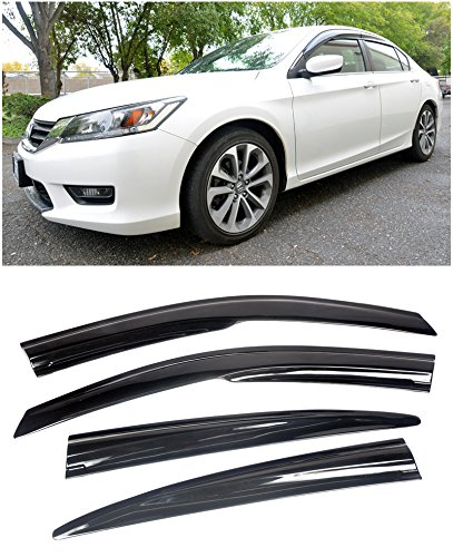 4dr Vent Visor Deflector - VXMOTOR for 2013-2017 Honda Accord 4DR Sedan Smoke Tinted Side Window Visors Deflectors
