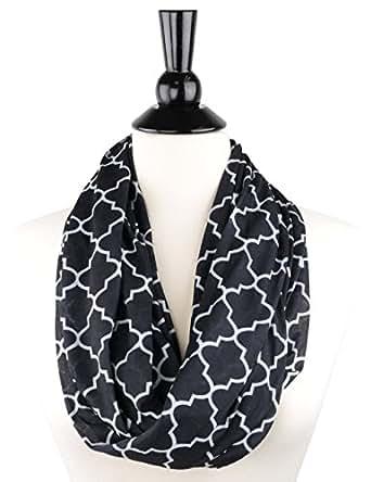 Pop Fashion Women's Black Infinity Scarf w/ Zipper Pocket & Pattern, Infinity Scarves