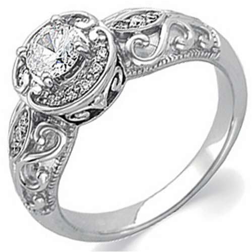 14K-White-Gold-Vintage-Style-Semi-Mount-Diamond-Engagement-Ring-Center-stone-is-not-included