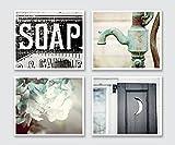 Bathroom Decor Set of 4 Photographs - 20% Discount - Rustic Bathroom Wall Art in Aqua Black and Teal.
