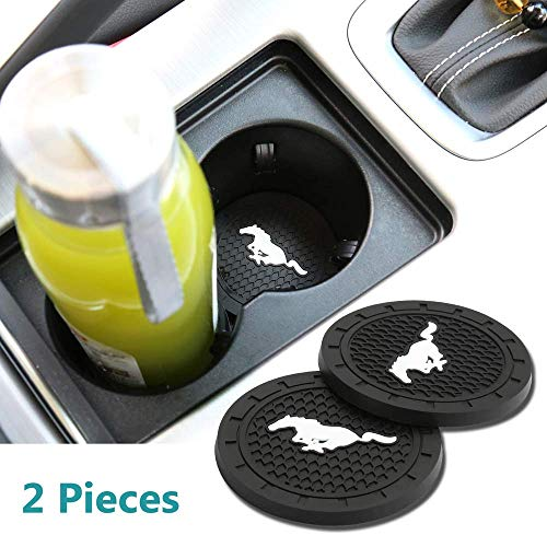 Jhaze 2 Pcs 2.75 inch Car Interior Accessories Anti Slip Cup Mat for Mustang All Models