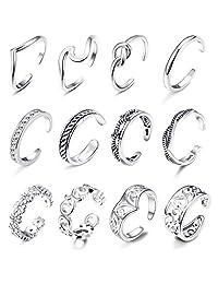 LOYALLOOK 8-12Pcs Adjustable Anklets Toe Rings Set for Women Girls Ankle Bracelets Adjustable Open Toe Ring Beach Foot Jewelry