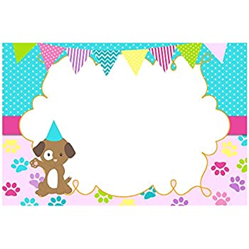 30 Blank Cards Invitations Thank You Cards Puppy Pink Blue Birthday Baby Shower + 30 White Envelopes