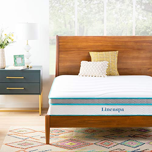 Linenspa 10 Inch Memory Foam and Innerspring Hybrid Mattress - Medium Feel - Queen (Best Sheets For 10 Inch Mattress)
