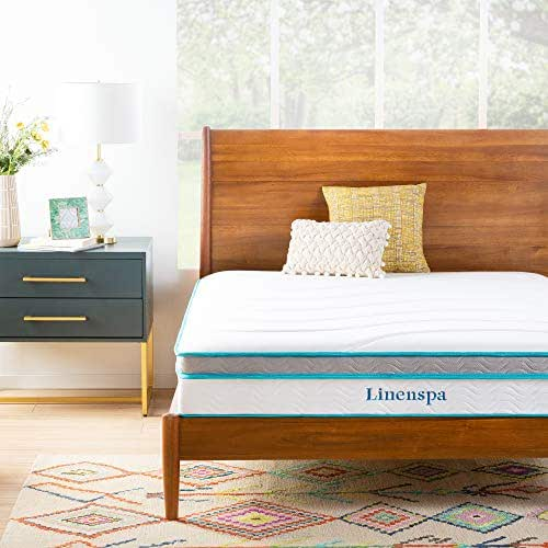 Linenspa 10 Inch Memory Foam and Innerspring Hybrid Mattress - Medium Feel - Full