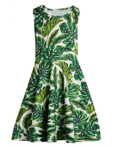 Funnycokid Girls Sleeveless Dress Leaves Printing Casual/Party 10-13 (Kids Girls Sleeveless)