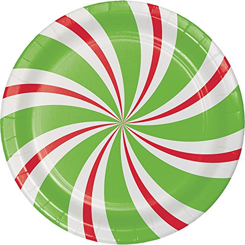 Creative Converting 8-Count Sturdy Style Dessert/Small Paper Plates, Peppermint Party ()
