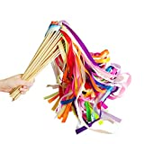 CODOHI 30 Pack Ribbon Fairy Wands Party Sticks Streamers with Bells for Kids Birthday Favors-Waving in the Dance Party- Mixed Color