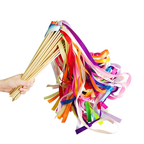 (CODOHI 30 Pack Ribbon Fairy Wands Party Sticks Streamers with Bells for Kids Birthday Favors-Waving in the Dance Party- Mixed Color)