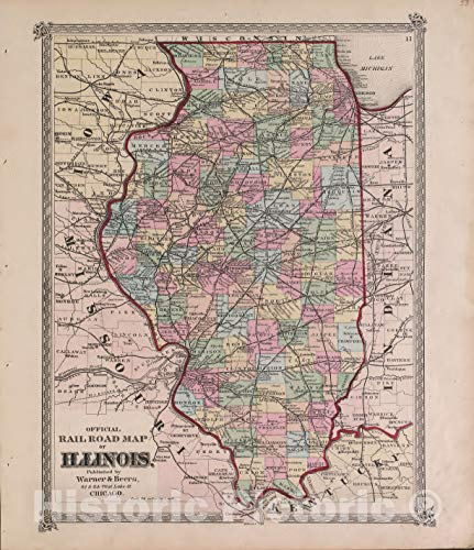 Rare Railroad Map Atlas - Historic 1870 Map | Atlas of Marshall Co. and The State of Illinois | Official Railroad map of Illinois | Atlas of Marshall County and The State of Illinois 38in x 44in