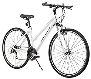 XDS Women's Cross 300 24-Speed Step-Through Hybrid Bicycle, 44 cm, White