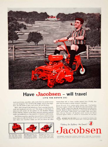 1959 Ad Jacobsen Lawnmower Red Pipe Golf Course - Golf Course Mowers