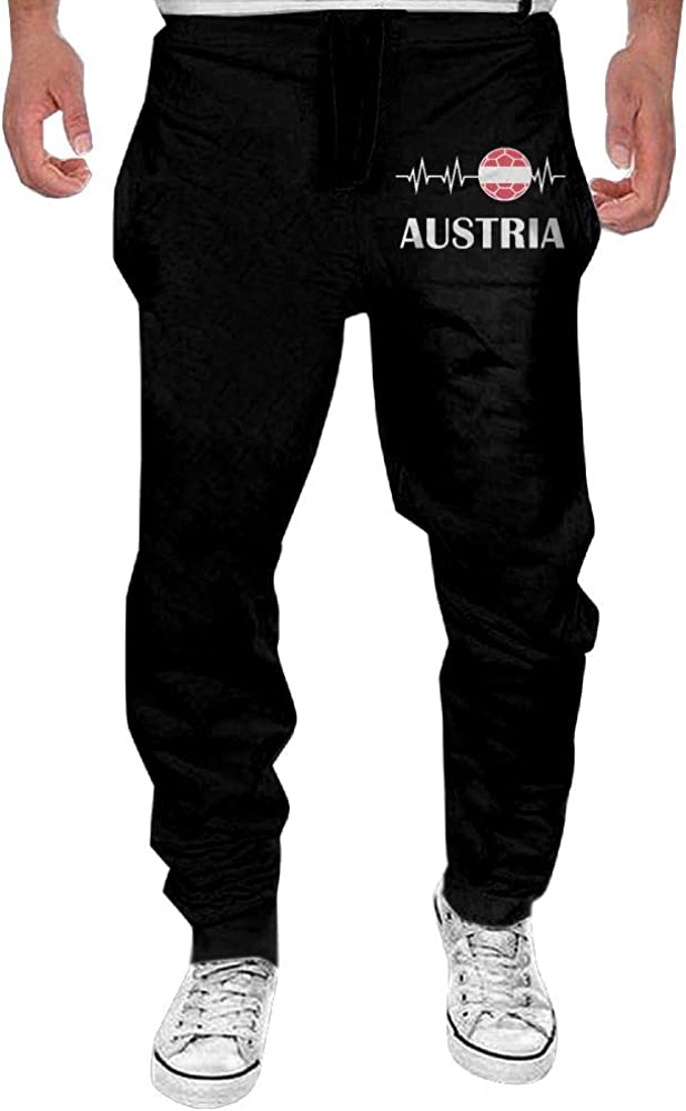 Mens Soccer Heartbeat I Love Austria Sport Cotton,Gym Beam Trousers