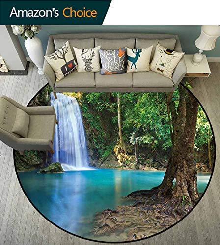 (RUGSMAT Woodland Computer Chair Floor Mat,Asia Thailand Jungle Trees Foam Mat Bedroom Decor Round-71 )