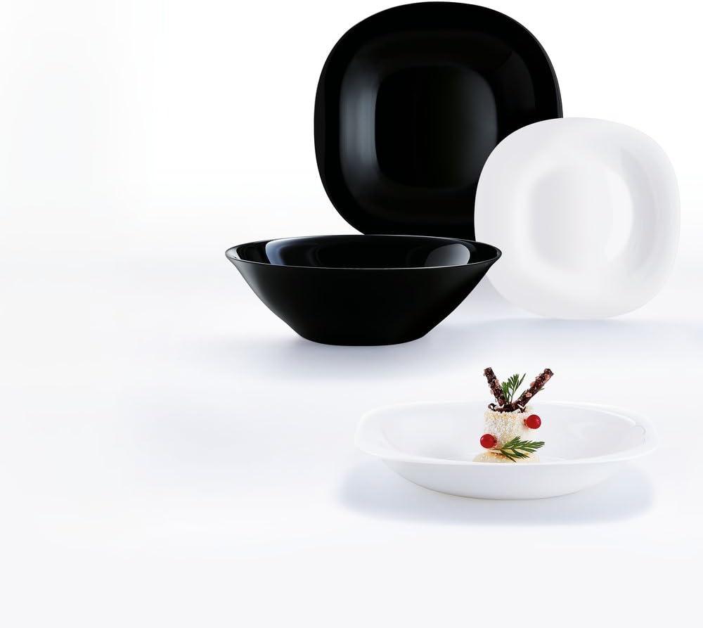 Luminarc Carine Moderne - Vajillas combinadas, Vidrio sodo, Blanco y Negro, 19 Piezas