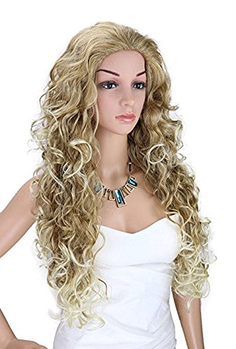 Kalyss Long Curly Blonde Wigs for Women Heat Resistant Wavy Synthetic Fiber Cosplay Costume Full Hair Wig For Women,24 inches 0.66lb -