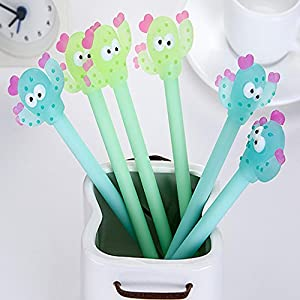 LtrottedJ Cartoon Cactus Gel Black Pens Kawaii Pens ,Cute Office Stationery Student Gift