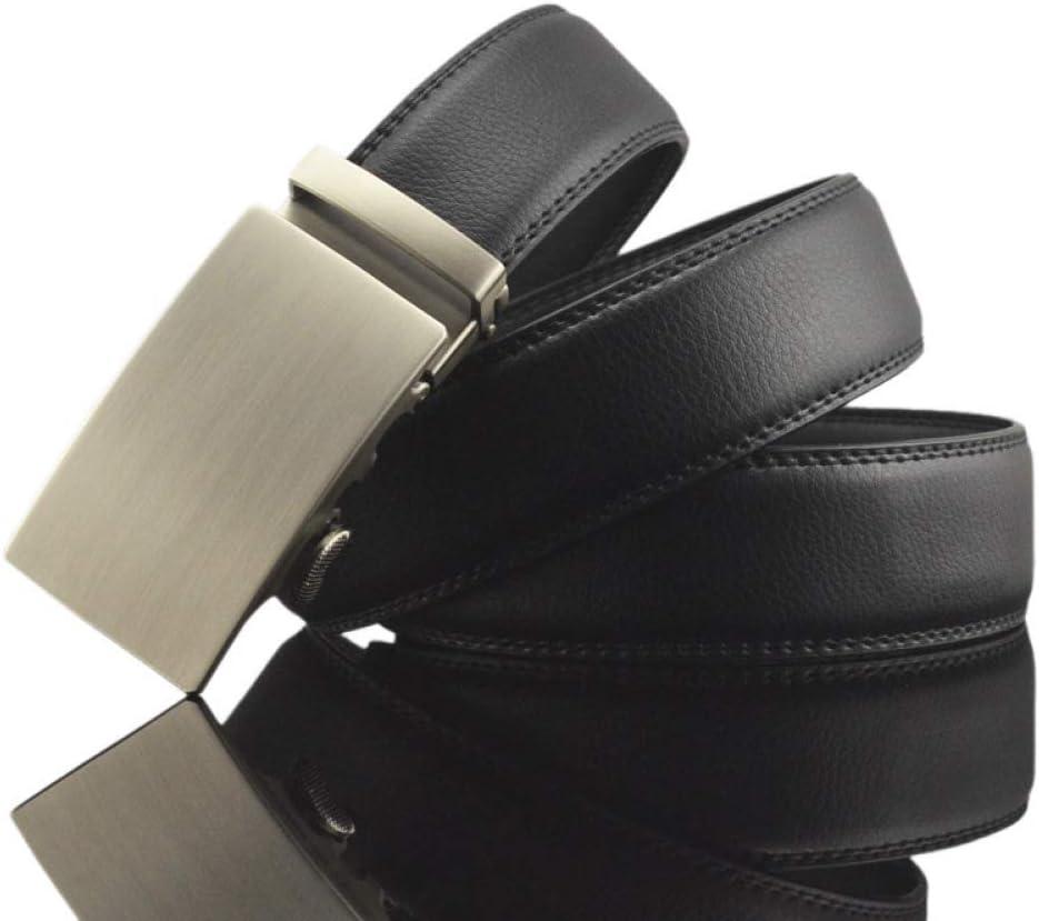 DENGDAI Mens Leather Belt Mens Belt Pants Automatic Buckle Belt Length 110-130cm