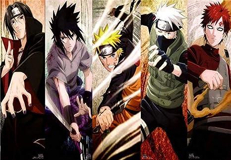 Sin marco Clásico Naruto Sasuke Anime Dragon Ball Z Dibujos animados Imagen cómica Decoración de la habitación de los niños Carteles de la sala de estar Arte de la pared Pintura de la lona 60 * 90cm H