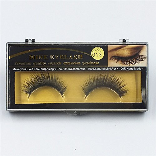 Derun Premium Handmade Reusable Natural Thick Black 100% Mink False Eyelashes Fo