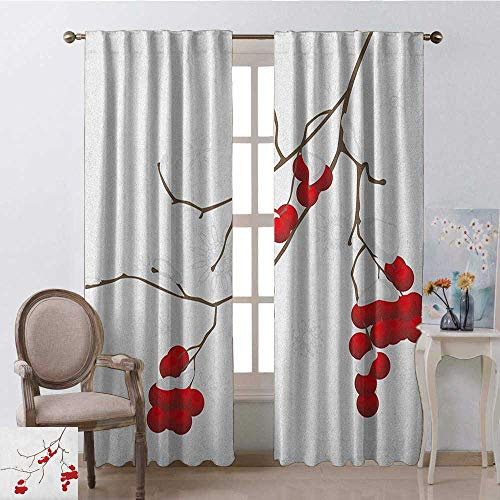 youpinnong Rowan, Curtains Printed, Artistic Branch of Rowan Plant Covered with Snow Winter Season Christmas Tree, Curtains for Bathroom, W84 x L96 Inch, Red White Umber ()
