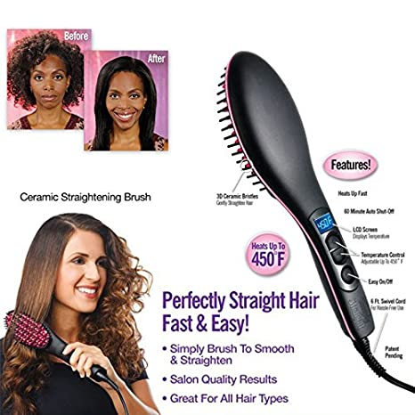 Maharsh Simply Straight Ceramic 2 in 1 Hair Straightener Brush Hair Styling Tools