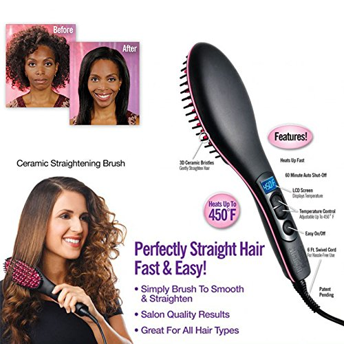Maharsh Simply Straight Ceramic 2 in 1 Hair Straightener Brush