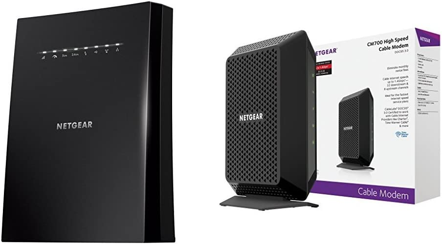 NETGEAR Nighthawk X6S AC4000 Tri-band Gigabit WiFi Router with MU-MIMO 32x8 /& more CM700 Time Warner Cable Charter with NETGEAR CM700 DOCSIS 3.0 Cable Modem R8000P Certified for XFINITY by Comcast