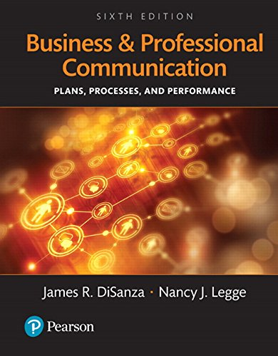 Business and Professional Communication Plans Processes and Performance Books a la Carte 6th Edition