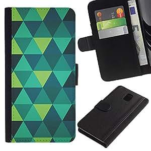 A-type (Polygon Art Green Mint Teal Blue Pattern) Colorida Impresión Funda Cuero Monedero Caja Bolsa Cubierta Caja Piel Card Slots Para Samsung Galaxy Note 3 III